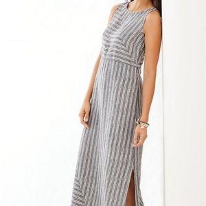 J. Jill Love Linen Striped Lagenlook Maxi Dress